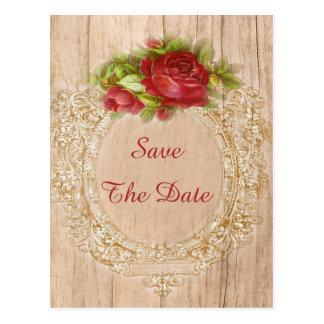 Vintage 16th Birthday Red Rose Wooden Frame Postcards