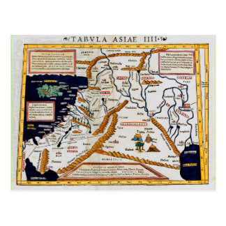 Vintage 16th Century Map Of The Middle East Postcard