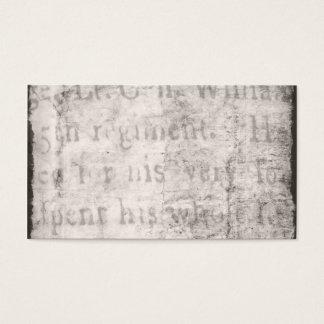 Vintage 1700s Black Gray Text Parchment Paper Business Card