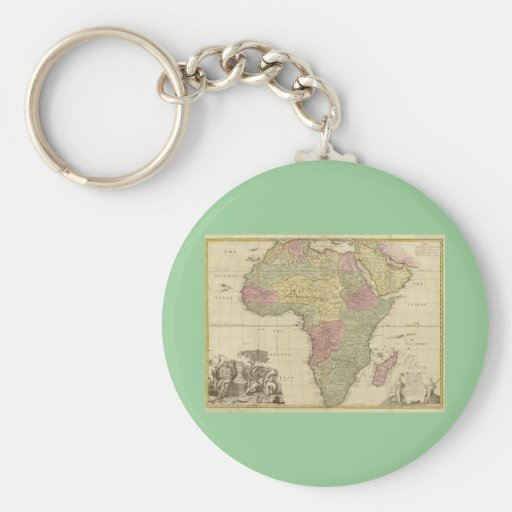 Vintage 1725 Africa Map Keychains