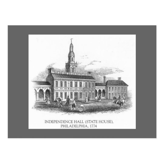 Vintage 1774 Independence Hall Philly Pa. Postcard