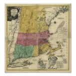 Vintage 1777  New England Map Posters