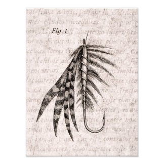 Vintage 1800s Angling Fly Fishing Flies Old Hooks Photographic Print
