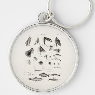 Vintage 1800s Angling Fly Fishing Flies Old Hooks Silver-Colored Round Key Ring