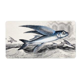 Vintage 1800s Blue Flying Fish In Ocean Waves