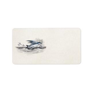 Vintage 1800s Blue Flying Fish In Ocean Waves Label