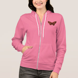 Vintage 1800s Brown Fuzzy Moth Template Butterfly Hoodie