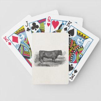 Vintage 1800s Bull Illustration Retro Cow Bulls Poker Deck