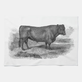 Vintage 1800s Bull Illustration Retro Cow Bulls Tea Towel