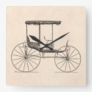 Vintage 1800s Carriage Horse-Drawn Antique Buggy Square Wallclocks