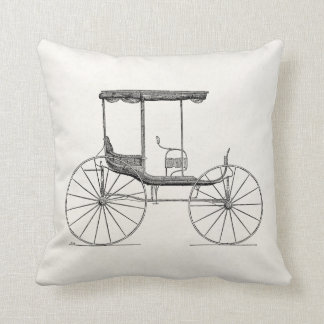 Vintage 1800s Carriage Horse-Drawn Antique Buggy Pillow