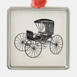Vintage 1800s Carriage Horse-Drawn Antique Buggy Silver-Colored Square Decoration