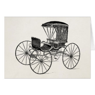 Vintage 1800s Carriage Horse-Drawn Antique Buggy Greeting Card