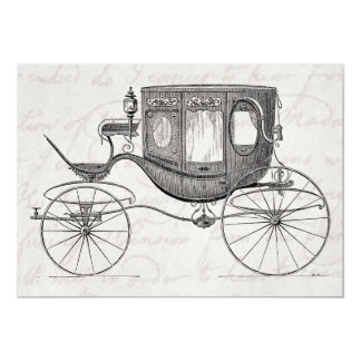 """Vintage 1800s Carriage Horse Drawn Antique Buggy 5"""" X 7"""" Invitation Card"""