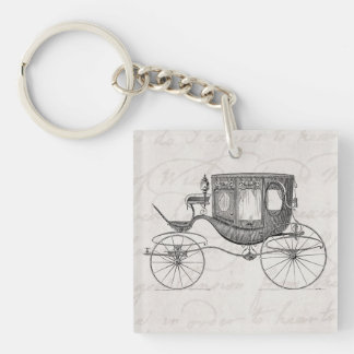 Vintage 1800s Carriage Horse Drawn Antique Buggy Key Ring