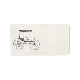 Vintage 1800s Carriage Horse-Drawn Antique Buggy Address Label