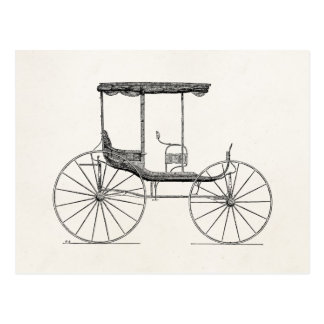 Vintage 1800s Carriage Horse-Drawn Antique Buggy Postcard