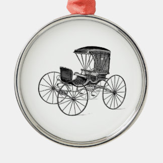 Vintage 1800s Carriage Horse-Drawn Antique Buggy Silver-Colored Round Decoration