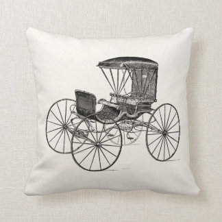 Vintage 1800s Carriage Horse-Drawn Antique Buggy Throw Pillow