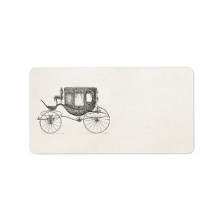 Vintage 1800s Carriage Horse Drawn Buggy Retro Car Address Label