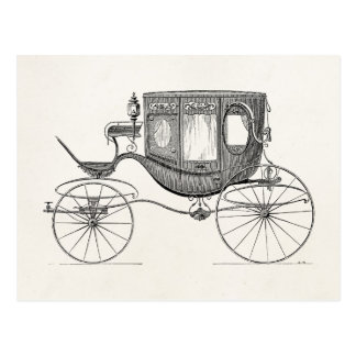 Vintage 1800s Carriage Horse Drawn Buggy Retro Car Postcard