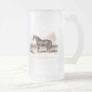 Vintage 1800s Cart Stallion Horse Illustration Frosted Glass Beer Mug