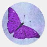 Vintage 1800s Dark Purple Butterfly Illustration Round Sticker