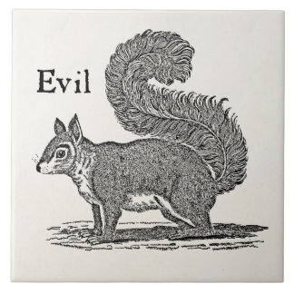 Vintage 1800s Evil Squirrel Illustration Ceramic Tile