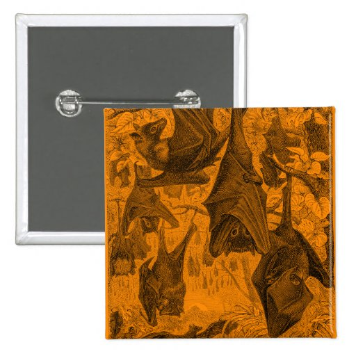Vintage 1800s Flying Fox Bat Retro Template Orange Pin