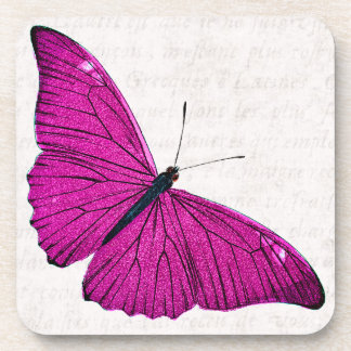 Vintage 1800s Fuchsia Hot Pink Butterfly Template Drink Coasters