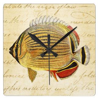 Vintage 1800s Hawaiian Butterfly Fish Illustration Wallclocks