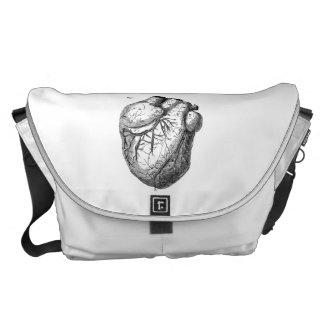 Vintage 1800s Heart Retro Cardiac Anatomy Hearts Courier Bag