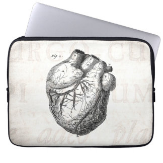 Vintage 1800s Heart Retro Cardiac Anatomy Hearts Laptop Sleeve