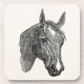 Vintage 1800s Horse Head Illustration Retro Horses Drink Coasters