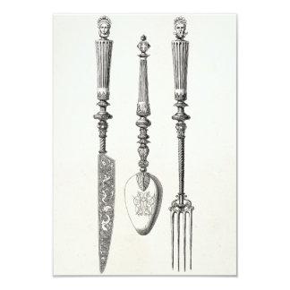 Vintage 1800s Knife Fork Spoon Knives Old Cutlery 9 Cm X 13 Cm Invitation Card