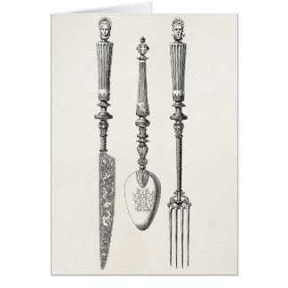 Vintage 1800s Knife Fork Spoon Knives Old Cutlery Card