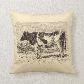 Vintage 1800s Large Dutch Cow Retro Cows Yellow Cushion
