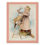 Vintage 1800's Little Girl Giving Cat a Haircut Poster