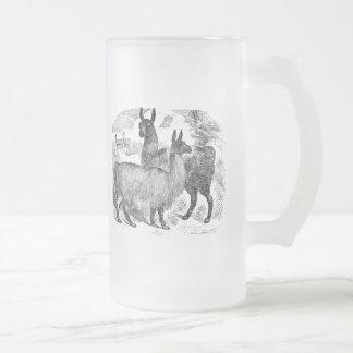 Vintage 1800s Llama Retro Alpaca Llamas Template Frosted Glass Beer Mug