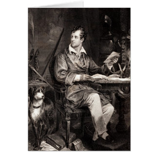 Vintage 1800s Lord Byron Portrait Victorian Poet Greeting Card