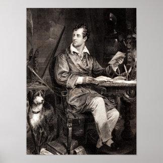Vintage 1800s Lord Byron Portrait Victorian Poet Poster