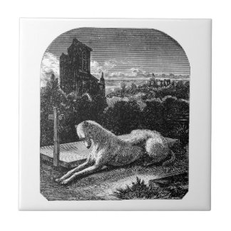 Vintage 1800s Loyal Greyhound Dog Small Square Tile