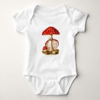 Vintage 1800s Mushroom Red Mushrooms Template Baby Bodysuit