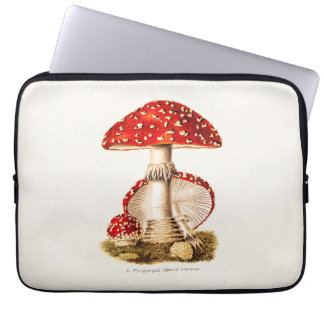 Vintage 1800s Mushroom Red Mushrooms Template Laptop Computer Sleeves