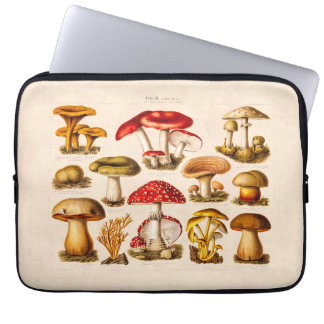 Vintage 1800s Mushroom Variety Red Mushrooms Laptop Sleeve
