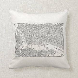 Vintage 1800s New York City Brooklyn Map NYC Maps Cushion