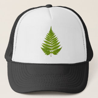 Vintage 1800s Olive Green Fern Leaf Template Trucker Hat