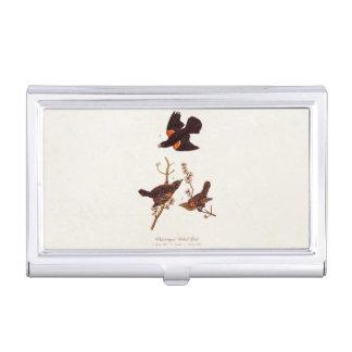 Vintage 1800s Red Winged Black Birds Illustration Business Card Holder