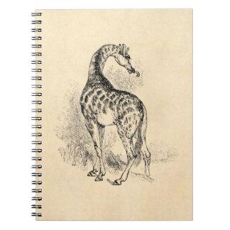 Vintage 1800s Retro GiraffeIllustration Parchment Notebook