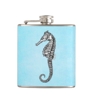 Vintage 1800s Sea Horse Ocean Seahorse Template Hip Flask